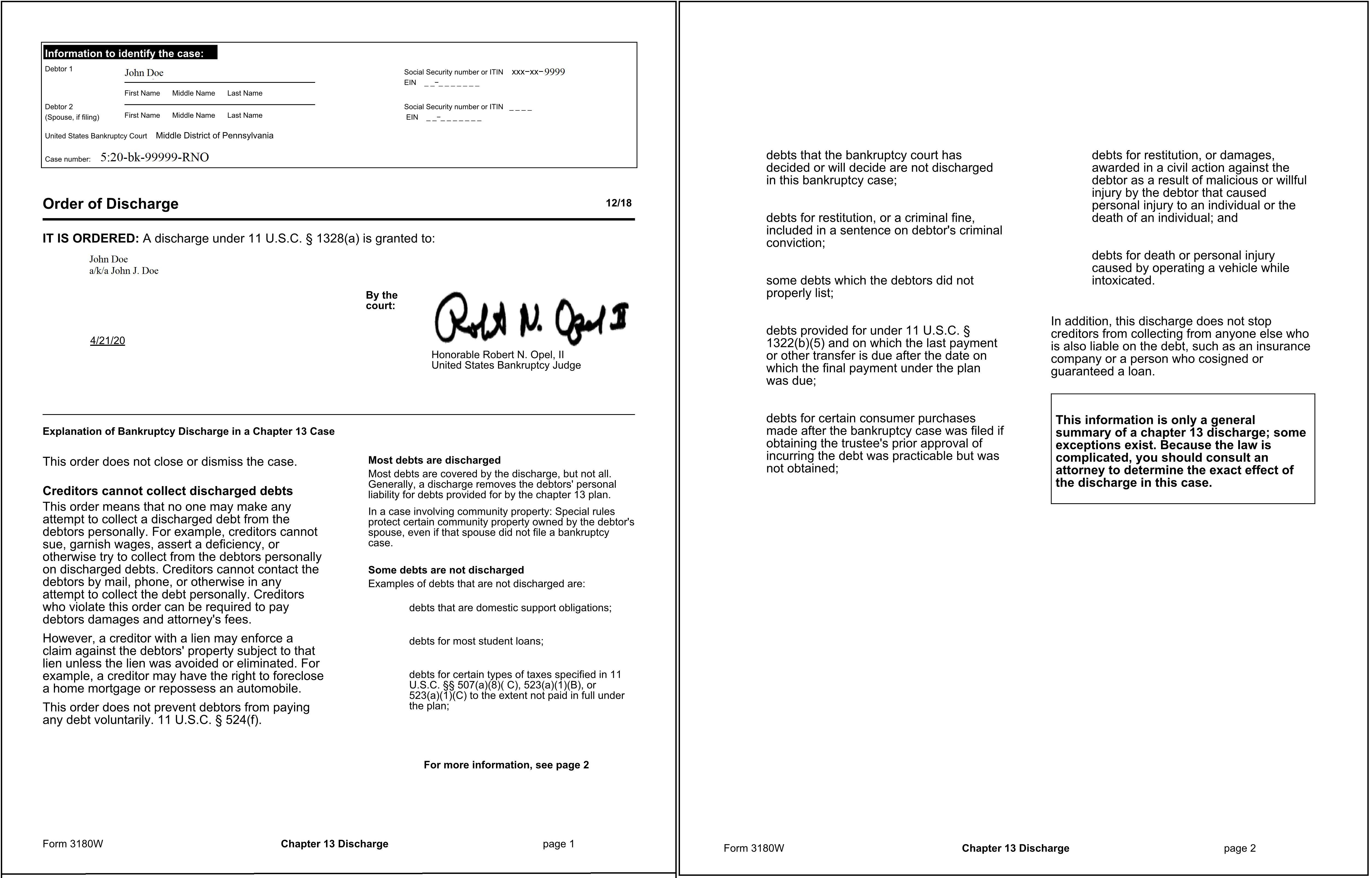 Image: Sample Chapter 13 Discharge Order